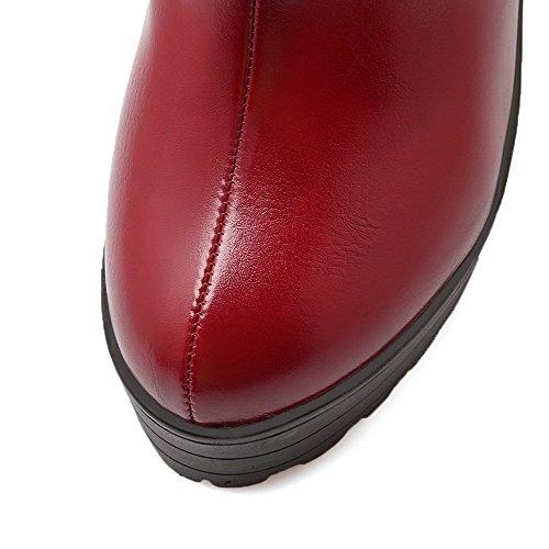 AllhqFashion Mujeres Tacón Alto Material Suave Caña Baja Sólido Cremallera Botas Rojo