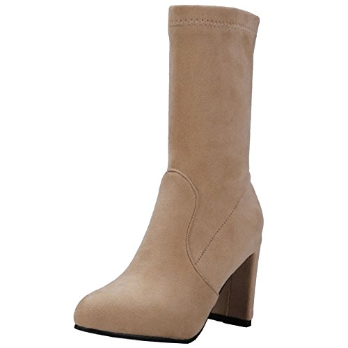 Onewus Women Mid-Calf Boots with Block Heel and Pointed Toe Faux Suede Boots with Large Size Avaialble Khaki