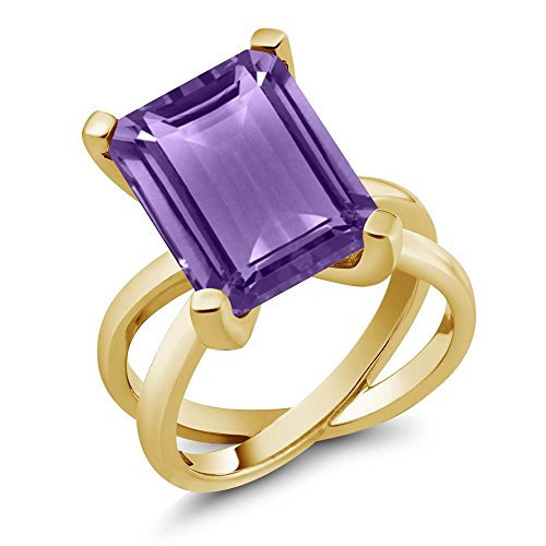 - 7.10 Ct Emerald Cut Purple Amethyst 18K Yellow Gold Plated Silver Ring, Size 8