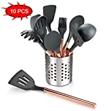 Silicone Cooking Utensils Set,Kitchen Utensil Set-10 PCS Rose Gold Stainless Steel Handle,Kitchen Utensil Set With Holder Nonstick Cookware - BPA Free-Kitchen Tool Set for Gift