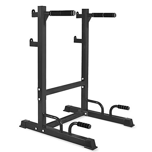 soges Multi-Functional Barbell Rack Dip Station, Parallel Bars Push-up Stand Bench Press Rack, Commercial/Home Gym Heavy Duty Weight Lifting Rack, Strength Training Fitness Workout Station, PSBB001