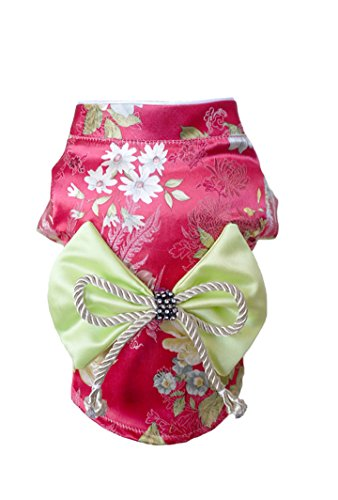[TOPSUNG Dog Clothes Kimono Style Costume Dog Princess Bowknot Dress Clothes For Small Dogs / Cats Rose Red L] (Kimono Costume For Dogs)