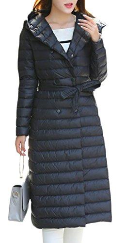 Jacket Down Weight Packable Long amp;S Women's Parka Black with M Puffer Outwear Winter Coat amp;W Light Hooded Belt Bq6xRX