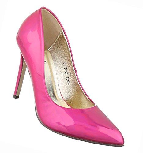 Damen Schuhe Pumps High Heels Stiletto Schwarz Pink