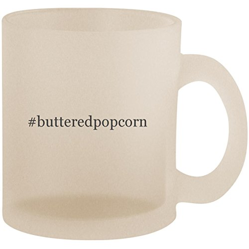 #butteredpopcorn - Hashtag Frosted 10oz Glass Coffee Cup Mug