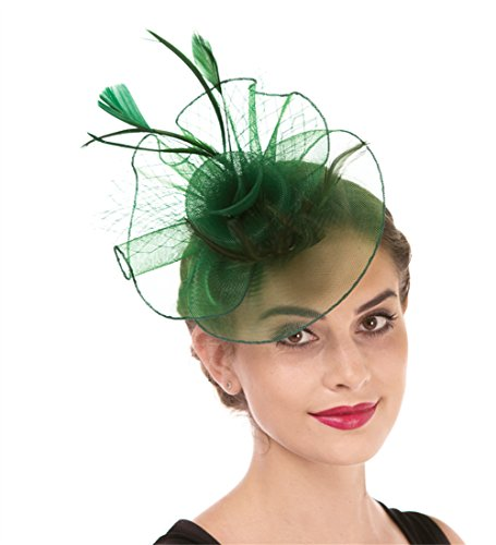 Fascinator Haojing Feather Mesh Flower on a Headband and a Clip Royal Tea Party Derby Headwear for Girls and Women(HJ1-Green) ()