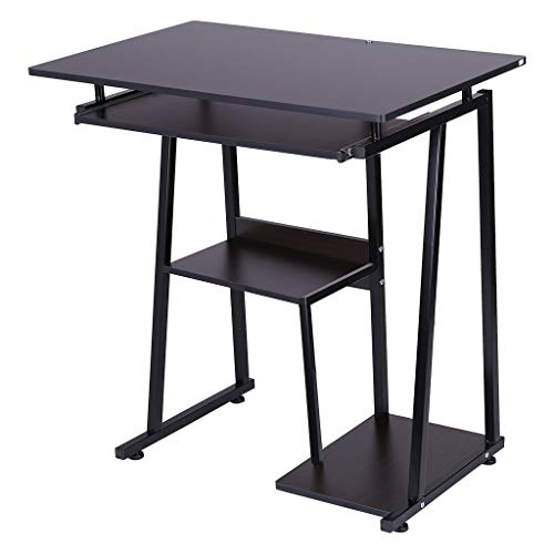 ErYao Desktop Computer Desk with Pullout Keyboard Tray Study Table Office Desk, 1.5 x 17.7 x 28.6 inch, Shipped from USA (Black)