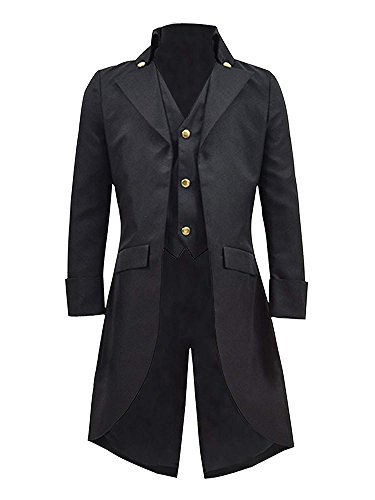 Ivay Mens Gothic Tailcoat Jacket Vintage Black Steampunk VTG Victorian Long Coat