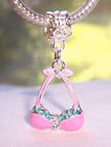 Glamorise Beads #14057 Pink Enamel Bathing Suit Bikini Bra Top Dangle Bead fits European Charm Bracelet