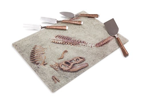 Dinosaur Dig Site Glass Platter with 4 Utensils
