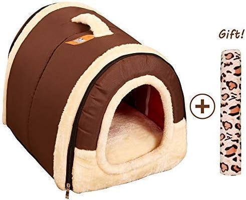 Cama/Caseta Perro Gato Interior 2 en 1, Casa Mascota Grande o Pequeño, Lavable Plegable Portátil, Cueva de Viaje para Perros Medianos Pequeños y Gatos (M:45cmx35cmx35cm, Marron): Amazon.es: Productos para mascotas