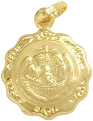 (Large 14 Karat Gold Inscribed Religious Baptismal Medal Medallion with 14