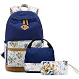 FLYMEI Canvas Backpack, Girl Backpack for School, Lightweight Back Pack for Teens, Durable Bookbags Travel Backpack 15 Inch Laptop Bag
