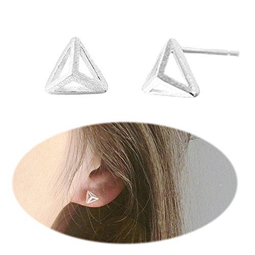 3D Triangle Studs Ear Crawler Earrings Simple Pattern Minimalist Simplified Cuffs Climber Ear Wrap Pin Vine Pierced Geometric Charms Jewelry Silver Plated Silver Vine Pattern Earrings