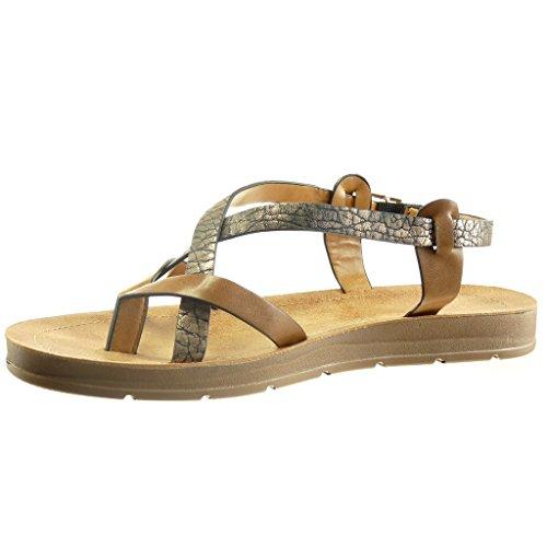 Angkorly - Zapatillas de Moda Sandalias zapatillas de plataforma mujer tachonado madera brillantes Talón Plataforma 2 CM - Camel