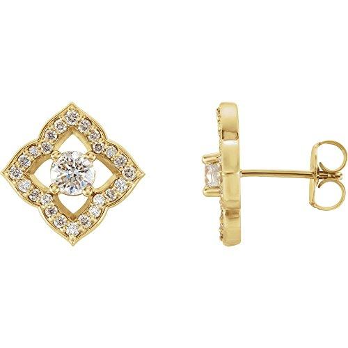 - FB Jewels Set 14K Yellow Gold Pair Polished 3/4 CTW Diamond Clover Earrings