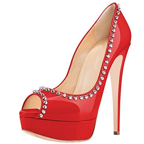 zapatos de Arc-en-Ciel remache de las mujeres bombas de la plataforma del peep toe de tacón alto Rojo