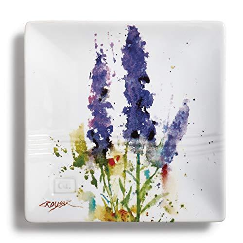 (Dean Crouser Lavender Herbal Floral Watercolor Purple 7 x 7 Ceramic Stoneware Snack Plate)