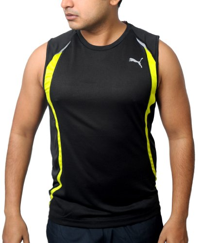 Puma Men's USP Dry Sleeveless Running T-shirt-Top XL Black