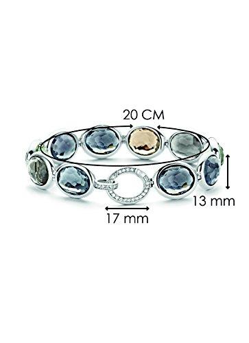 Ti Sento Milano femme  Argent 925/1000  Plaqué rhodium Argent|#Silver Ovale   Gris Kristall FASHIONNECKLACEBRACELETANKLET