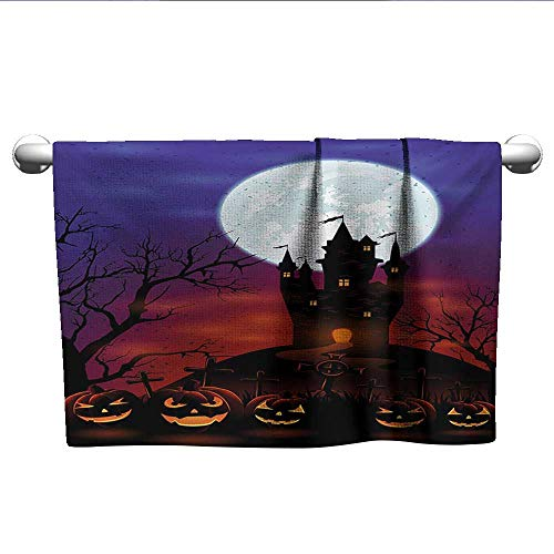 alisoso Halloween,Personalized Towels Gothic Haunted House Castle Hill Valley Night Sky October Festival Theme Print Fast Drying Fitness Hand Towels Multicolor W 28
