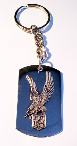 United States America Usa Soaring Eagle Seal Pewter Emblem Logo Symbols - Key Ring Chain ()