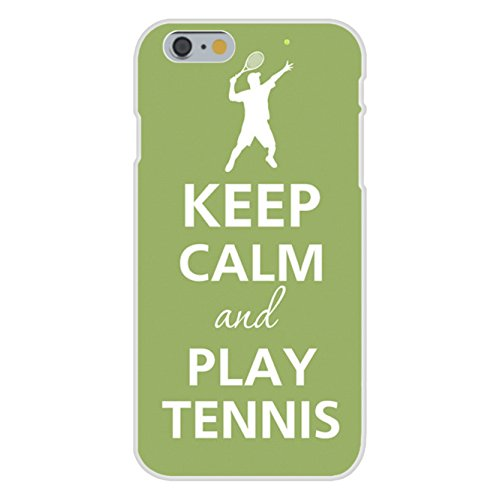 Apple iPhone 6 Custom Case White Plastic Snap On - Keep Calm and Play Tennis Player Serving