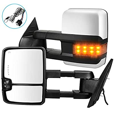 Towing Mirrors Compatible with Chevy GMC 2007-2013 Silverado Sierra (07 for New Body ONLY) with Turn Signal Spot Indicator Power Heated Exterior Automotive Outside Tow Mirrors Pair Assembly Set: Automotive