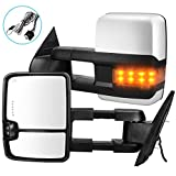 Towing Mirrors Replacement for Chevy GMC 2007-2013 Silverado Sierra (07 for New Body ONLY) with Turn Signal Spot Indicator Power Heated Exterior Automotive Outside Tow Mirrors Pair Assembly Set