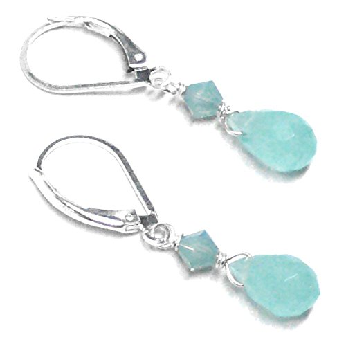 Aqua Chalcedony 8x5mm Briolette Lever Back Earrings Swarovski Crystal Sterling Silver
