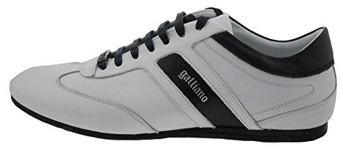 John Galliano Zapatillas de Piel Lisa Para Hombre Blanco Calf Bianco