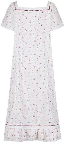 The 1 for U 100% Baumwolle Nachthemd kurzärmelig - Evelyn - Creme - Vintage Rose, 3X-Large