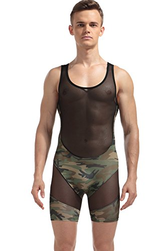 Barsty Men's Slim Stretch Mesh Lingerie Bodysuit Jumpsuits Bodywear Underwear XL Camouflage (Wrestling Suit)