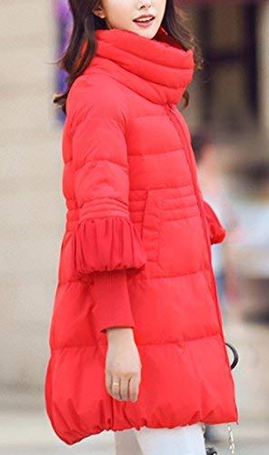 Rot Piumino Cappotti 1 Elegante Moda Invernali Autunno Abbigliamen Collo A Alto Donna ZWpwZxgqRr