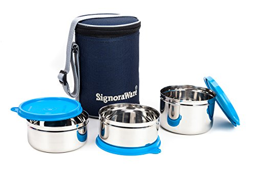 Signoraware Executive Stainless Steel Lunch Box Set, Set of 3, Blue Price & Reviews