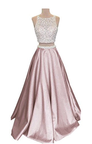 (VinBridal 2018 Two Piece Long Beaded Satin Prom Dresses for Juniors Blush Pink 2)