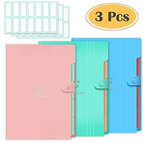 Selizo 3 Pcs Expanding File Folder with 5 Pockets Organizer Plastic A4 Size and 168 Pcs File Folder Labels for School Teacher and Office
