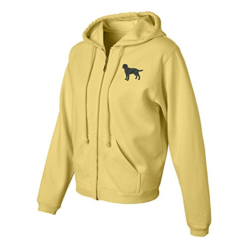 (Labrador Black Ladies Pigment Dyed Full Zip Hooded Sweatshirt Color Butter, Size)