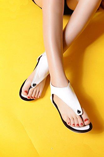 Sandali Infradito Open Zip Con Cerniera E Cinturino Bianco Per Donna