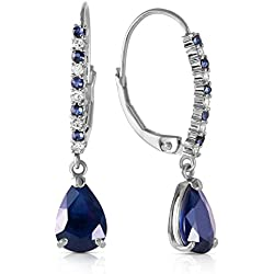 3.35 Carat 14k Solid White Gold Leverback Earrings with Natural Diamonds and Sapphires