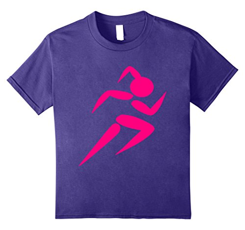 - Kids Running Girl T-Shirt Athletic Gym Track & Field Graphic Tee 10 Purple