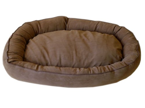 Brown Microfiber Bagel Bed - CPC Microfiber Oval 42 x 30 x 8-Inch Lounge Bagel Saddle Pet Bed with Chocolate Piping, X-Large