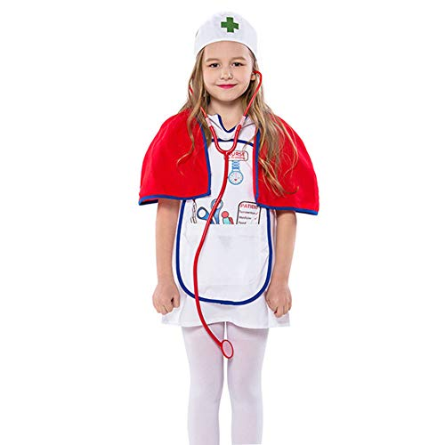 Kid Girl Doctor Nurses Role Play Suit Fancy Dress Up Cosplay Child Party Costume