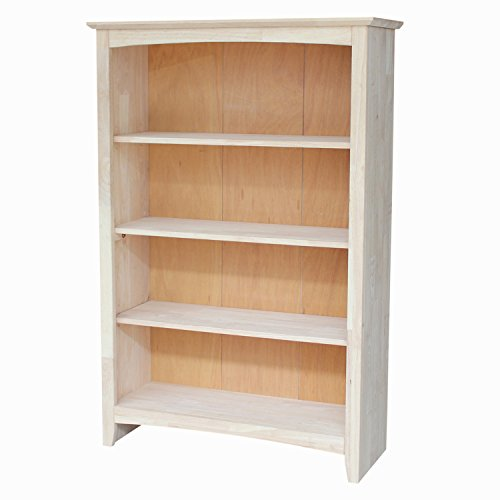 and bookshelves grande d collections wood unit mckenzie bookcase unfinishedfurnitureexpo center bookcases unfinished wall