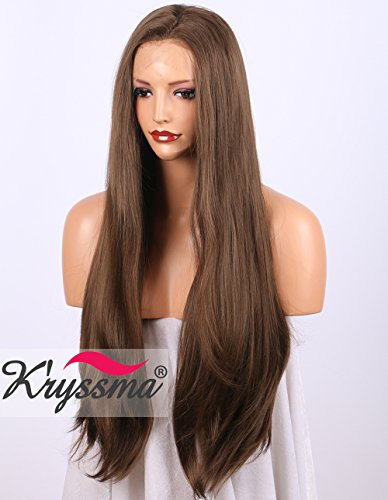 K'ryssma Long Natural Straight Brown Lace Front Wig Half Hand Tied Realistic Looking Glueless Synthetic Wigs for Women]()