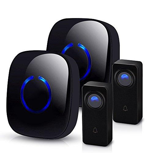 Wireless Doorbell by SadoTech - Waterproof Door Bells & Chimes Wireless Kit, 1000-ft Range,52 Door Bell Chimes, 4 Volume Levels with LED, Wireless Doorbells w/ 2 Receiver & 2 Button, Crosspoint GBlack