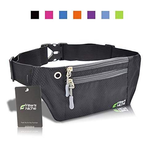 Running Fanny Pack, 3 Pocket Travel Money Waist Bag, Water Resistant Elastic Adjustable Belt for Men Women, Fits iPhone X 8 Plus, Samsung, Ideal for Cycling Hiking Jogging Travelling Outdoor Sports