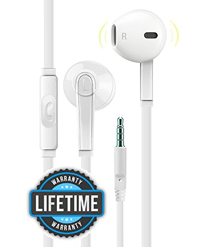 Price comparison product image Headphones with Microphone, Certified PowerBoost In-Ear 3.5mm Noise Isolating Earphones Headset for iPhone iPad iPod Laptop Tablet Android LG HTC Smartphones (White)
