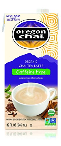 (Oregon Chai Caffeine Free Chai Tea Latte Concentrate 32-Ounce Boxes (Pack of 6), Liquid Chai Tea Concentrate, Decaffeinated Spiced Black Tea For Home Use, Café, Food Service)