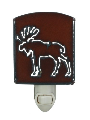 Moose- Rustic Metal Plug in Night Light for Bedrooms, Bathroms and Hallways - Made in USA 5